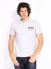 U.S. Polo Assn. Men Grey Melange Henley T-shirt