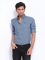 U.S. Polo Assn. Men Blue Striped Slim Fit Casual Shirt