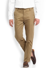 U.S. Polo Assn. Men Khaki Tapered Fit Smart-Casual Trousers