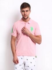 U.S. Polo Assn. Men Light Pink Pique Polo T-shirt