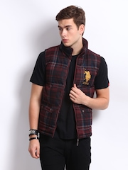U.S. Polo Assn. Men Maroon Checked Sleeveless Jacket