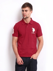 U.S. Polo Assn. Men Maroon Pique Polo T-shirt