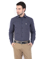U.S. Polo Assn. Men Navy Checked Tailored Fit Smart Casual Shirt