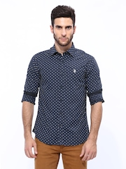 U.S. Polo Assn. Men Navy Printed Tailored Fit Casual Shirt