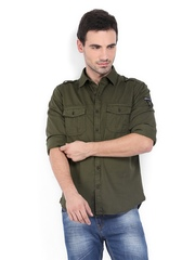 U.S. Polo Assn. Men Olive Standard Fit Casual Shirt
