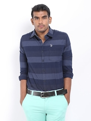U.S. Polo Assn. Men Navy Striped Casual Shirt