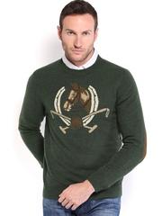 U.S. Polo Assn. Men Olive Green Lambswool Sweater