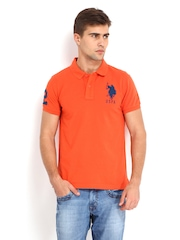 U.S. Polo Assn. Men Orange Polo T-shirt