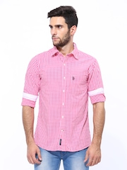 U.S. Polo Assn. Men Pink & White Checked Tailored Fit Casual Shirt