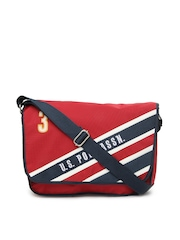 U.S. Polo Assn. Men Red Messenger Bag