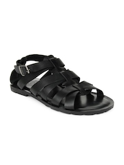 U.S. Polo Assn. Men Black Leather Sandals