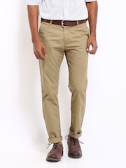 U.S. Polo Assn. Men Beige Tapered Fit Trousers