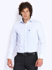 U.S. Polo Assn. Men White & Blue Striped Tailored Fit Smart-Casual Shirt