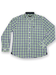 U.S. Polo Assn. Men White & Green Checked Tailored Fit Smart Casual Shirt