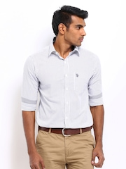 U.S. Polo Assn. Men White & Navy Striped Tailored Fit Smart-Casual Shirt