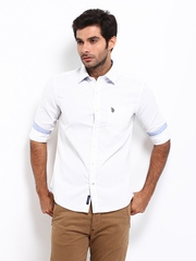 U.S. Polo Assn. Men White Tailored Fit Casual Shirt