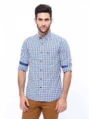 U.S. Polo Assn. Men Yellow & Blue Checked Tailored Fit Casual Shirt