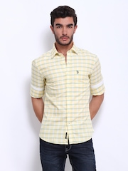 U.S. Polo Assn. Men Yellow Checked Tailored Fit Casual Shirt