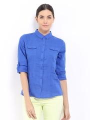 U.S. Polo Assn. Women Blue Linen Shirt