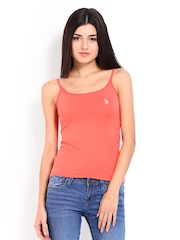 U.S. Polo Assn. Women Coral Red Spaghetti Top