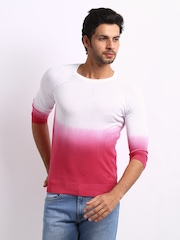 United Colors of Benetton Men White & Pink Ombrey Sweater