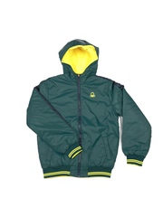 United Colors of Benetton Boys Green & Yellow Padded Hooded Reversible Jacket