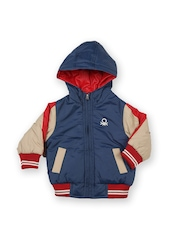 United Colors of Benetton Boys Navy & Beige Padded Hooded Jacket