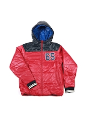 United Colors of Benetton Boys Red & Navy Hooded Padded Jacket