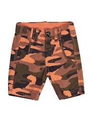 United Colors of Benetton Boys Orange Camouflage Printed Shorts
