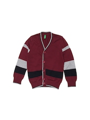 United Colors of Benetton Boys Maroon Striped Cardigan Sweater