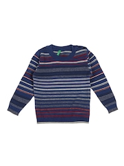 United Colors of Benetton Boys Blue Striped Sweater