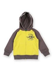Boys Yellow & Brown Hooded Sweatshirt United Colors Of Benetton
