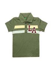 United Colors of Benetton Boys Olive Green Polo T-shirt