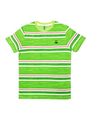 United Colors of Benetton Boys Green Striped T-shirt