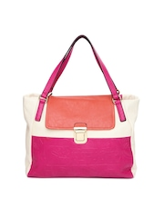 United Colors of Benetton Cream Toned & Pink Handbag