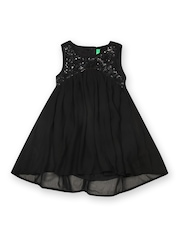United Colors of Benetton Girls Black High-Low Dress