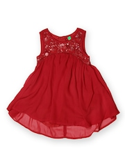 United Colors of Benetton Girls Maroon High-Low Dress