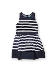 United Colors of Benetton Girls Navy & White Fit & Flare Dress
