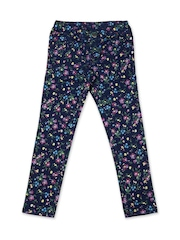 United Colors of Benetton Girls Navy Floral Print Skinny Fit Jeggings