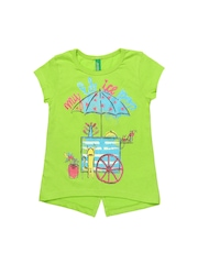 United Colors of Benetton Girls Green Printed T-shirt