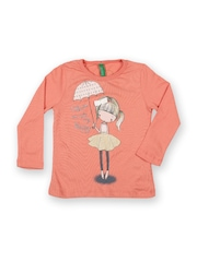 United Colors of Benetton Girls Orange Printed T-shirt