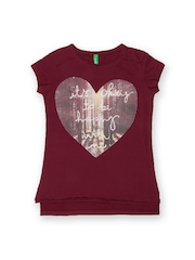 United Colors of Benetton Girls Maroon Printed T-shirt