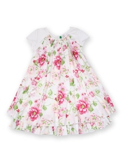 United Colors of Benetton Girls White & Pink Floral Printed Shift Dress