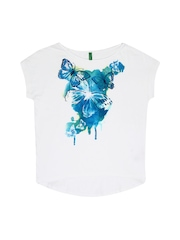 United Colors of Benetton Girls White Printed T-shirt
