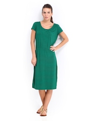 United Colors of Benetton Green & Black Striped Jersey Dress