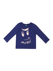 United Colors of Benetton Infant Girls Blue Printed T-shirt