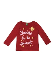 United Colors of Benetton Infant Girls Red Printed T-shirt
