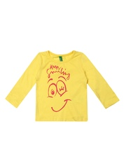 United Colors of Benetton Infant Girls Yellow Printed T-shirt