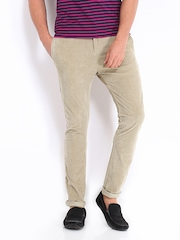 United Colors of Benetton Men Beige Carrot Fit Corduroy Trousers