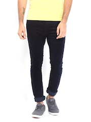 United Colors of Benetton Men Navy Carrot Fit Corduroy Trousers